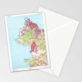Monterey, CA from 1947 Vintage Map - High Quality Stationery Cards