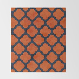 navy and orange clover Throw Blanket