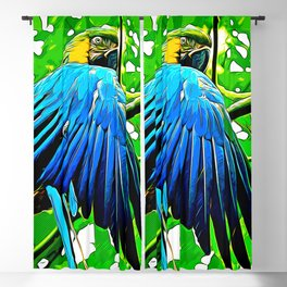 blue yellow breasted macaw parrot bird vector art Blackout Curtain