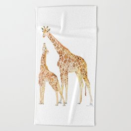 Mother and Baby Giraffes Beach Towel