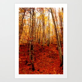 Red tree, fall forest, nature, leaves, golden yellow Art Print