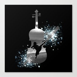 Let The Music Play - Black and White Canvas Print
