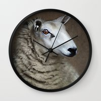 sheep Wall Clocks featuring Sheep by ThePhotoGuyDarren