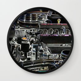 The Image Of A Car Engine Compartment Wall Clock