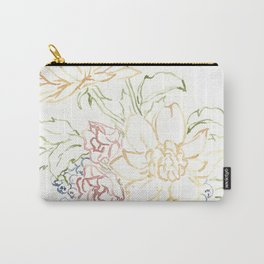 Line Watercolor Flowers Carry-All Pouch