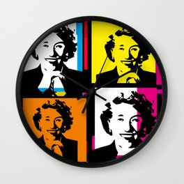ENID BLYTON (FUNKY-COLOURED POP ART COLLAGE) Wall Clock