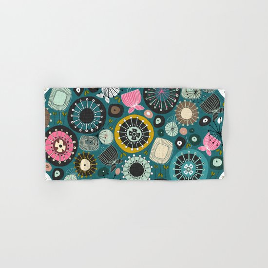 blooms teal Hand & Bath Towel