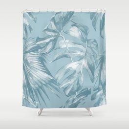 Island Dream Teal Palm Leaves Shower Curtain