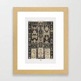 Renaissance pattern from L'ornement Polychrome (1888) by Albert Racinet Framed Art Print