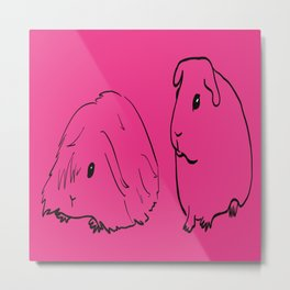 Guinea Pigs - American and Silkie With Hot Pink Background Metal Print
