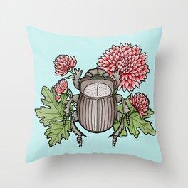 Beetle with Chrysanthemum - Blue Throw Pillow