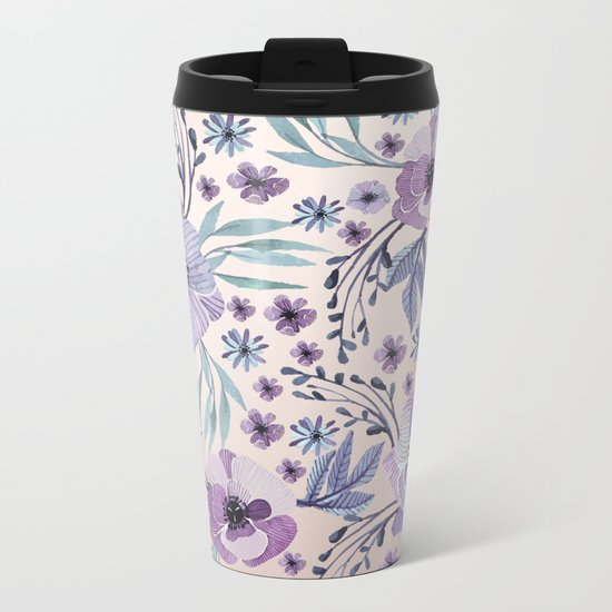 Purple Flowers and Green Leaves Metal Travel Mug