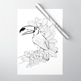 Toucan Tropical Exotic Bird in my Garden_ Black and White palette_digital drawing Wrapping Paper