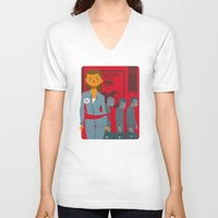 1984 V-neck T-shirts featuring 1984 by Cristian Barbeito