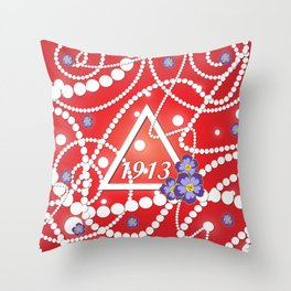 Crimson and Pearls Throw Pillow