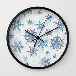 """Embroidered"" Snowflakes on white canvas Wall Clock"