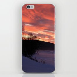 Wintry Sunset over the Porkies iPhone Skin