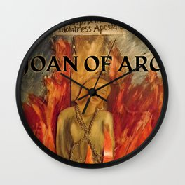 Joan of Arc in the flames Wall Clock