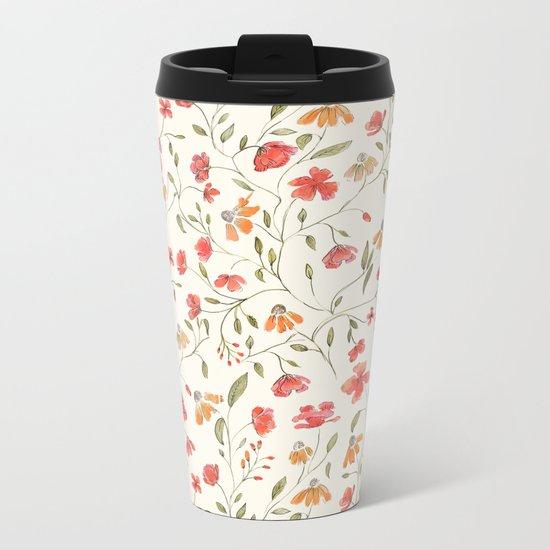 Red and Orange Vintage Floral Pattern Metal Travel Mug