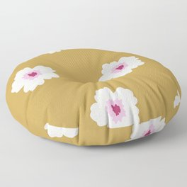 White flowers in yellow Floor Pillow