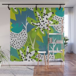 White strawberries and green leaves Wall Mural