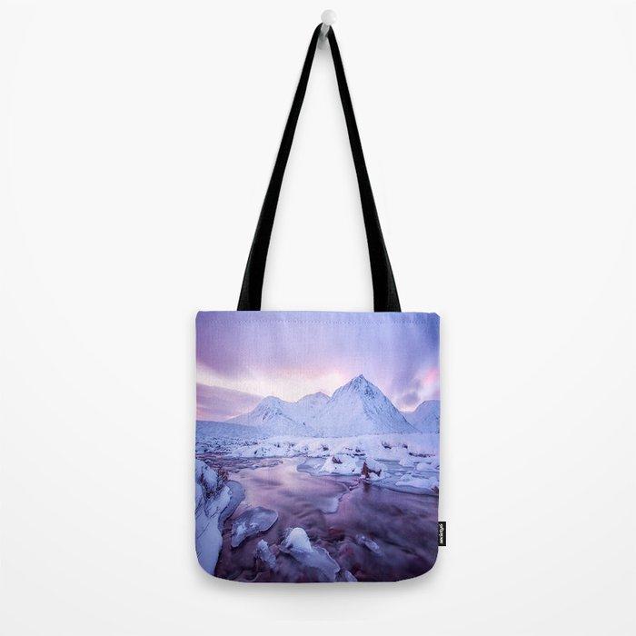 Freezing Mountain Lake Landscape Tote Bag