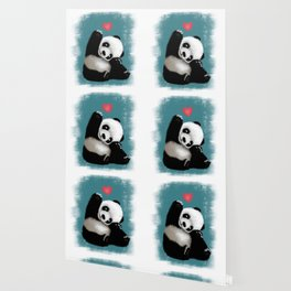 Panda Love (Color) Wallpaper