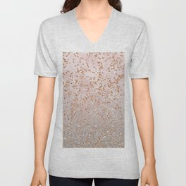 Mixed glitters on pink marble Unisex V-Neck