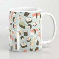 novelty Mugs featuring Yummy Sushi! by Eine Kleine Design Studio