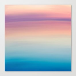 Modern watercolor navy blue pink sunset pattern Canvas Print