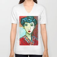 matisse V-neck T-shirts featuring LADY MATISSE IN TEEN YEARS by JANUARY FROST