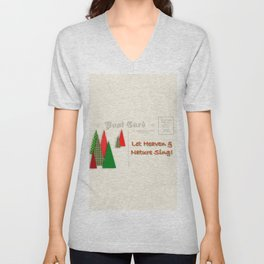 Contemporary Christmas Trees on Vintage Postcard Unisex V-Neck