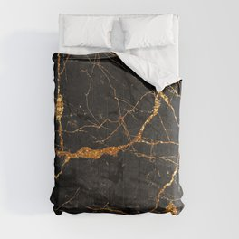 Black Malachite Marble With Gold Veins Comforters