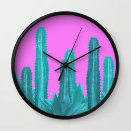 Agave Cactus Turquoise pink Wall Clock