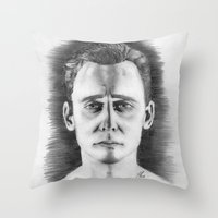 tom hiddleston Throw Pillows featuring Tom Hiddleston by LilKure