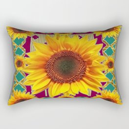 Burgundy-Teal Sunflowers Grey Art Rectangular Pillow