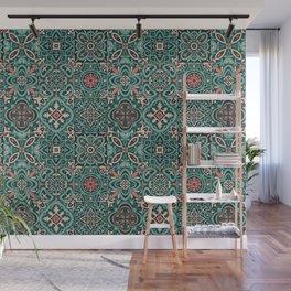 Peranakan Art Nouveau Tiles (Mixed Patterns in Peach Garden) Wall Mural
