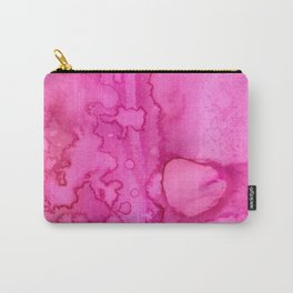 Girly neon pink magenta abstract watercolor paint Carry-All Pouch