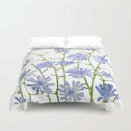 blue chicory watercolor Duvet Cover