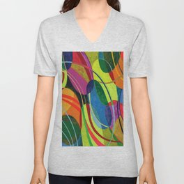 Bright Bold Colorful Abstract Linear Ovals Modern Art 20200606 Unisex V-Neck
