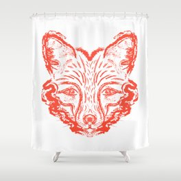 Muzzle foxes. Fox with sideburns, sketch strokes. Shower Curtain