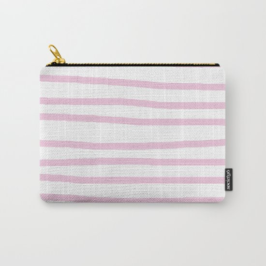 Simply Drawn Stripes in Blush Pink on White Carry-All Pouch
