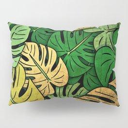 Grunge Monstera Leaves Pillow Sham