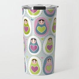 matryoshka with heart Travel Mug