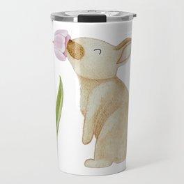Bunny smelling a Tulip Travel Mug