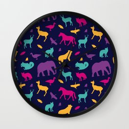 Colorful Wild Animal Silhouette Pattern Wall Clock