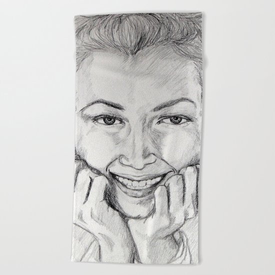 Daydream portrait graphite drawing Beach Towel