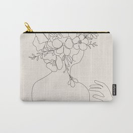 Woman with Flowers Minimal Line II Carry-All Pouch