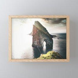 hiking at faroe Framed Mini Art Print