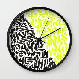 black and yellow calligraffiti pattern Wall Clock